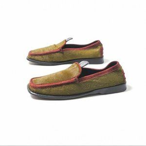 Tod's Burgundy Green Pony Hair Driving Loafers